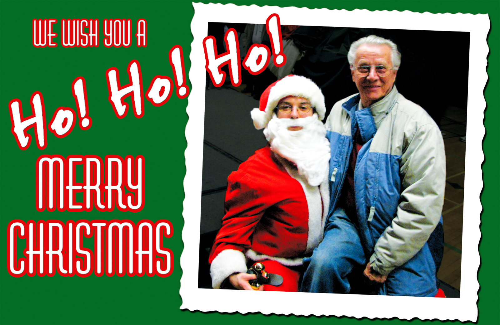 Christmas Card: Opa sits on Father Christmas's lap
